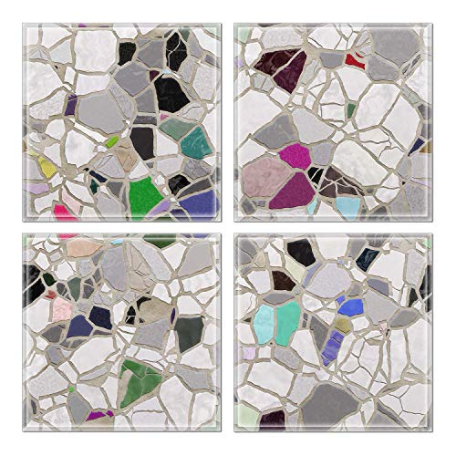 "Upscale Designs 3230103 Custom 6""x6"" Crystal Beveled Glass Wall Tile, Set of 32, Multi-Color"