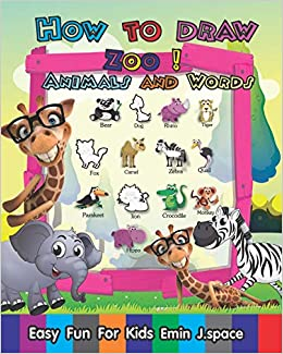 How To Draw Zoo Animals And Words Easy Fun Drawing And First