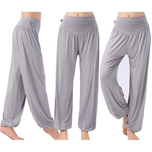Leisial Pantalones de Yoga Algod/ón Suave Piernas Pantalones Anchos S/ólido Color El/ástico Pretina Pantalones Bombachos de Fitness Bailan Deportivo para Mujeres,Gris Oscuro XL