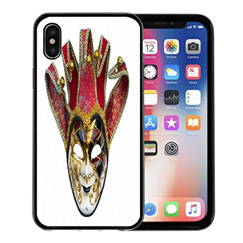 Semtomn Phone Case for Apple iPhone Xs case,Theater Joker Mask Venetian Bells Carnival Costume Disguise for iPhone X Case,Rubber Border Protective Case,Black