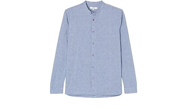 Marca Amazon - find.. Camisa Cuello Mao Para Hombre, Azul (Blue), S, Label: S: Amazon.es: Ropa y accesorios