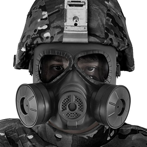 BIENNA Airsoft Tactical Paintball Protective Full Face Eye Protection Skull Dummy Toxic Gas Mask With 2 Filter Fans and Adjustable Strap for BB Gun CS Cosplay Costume Halloween Masquerade-Black]()