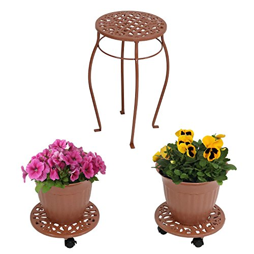 (Sunnydaze 5-Piece Cast Iron Planter, Rolling Caddy and Plant Stand Set, Indoor or Outdoor, Bronze)