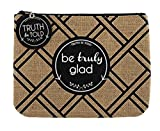 Set of 4 Be Truly Glad Burlap Zipper Pouch