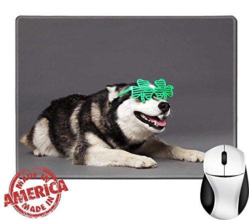"Luxlady Natural Rubber Mouse Pad/Mat with Stitched Edges 9.8"" x 7.9"" Studio portrait of a Siberian Husky female dog wearing a pair of funky clover IMAGE - Funky Pair Shipping"