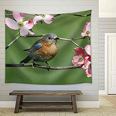 Premium Product, Magnificent Artisanship, Female Eastern Bluebird (Sialia Sialis) with Pink Dogwood Flowers Fabric Wall