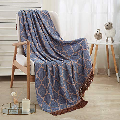 JML Throw Blanket Soft Smooth Jacquard Bamboo Cotton Throw Blanket for Couch Bed Blanket Travel Blankets with Tassels Suitable for Home Sofa Camping All Seasons,50
