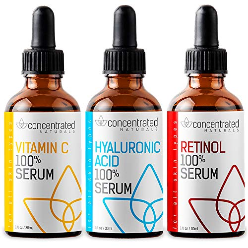 Complete Facial Serum Set Vitamin C, Hyaluronic Acid and Retinol Serum for Face | May Help Smooth Appearance of Fine Lines | Works to Brighten for More Youthful Looking Skin | 3 x 1 fl oz / 30 ml