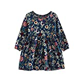 Muium Long Sleeve Princess Toddler Infant Baby Girls Party Pageant Clothes Dresses Outfits For 3-11 Years Old (120(Aged 6-7 Years), Navy)