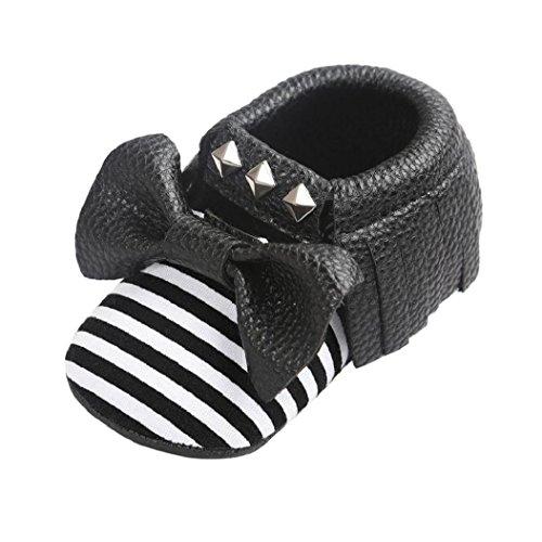 Zapatos de la suavidad del remache de la raya del Bowknot del bebé, niño de Koly embroma las zapatillas de deporte(0 ~ 18 Meses) (13, Oro) Negro