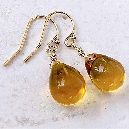Golden Honey Amber Wire Wrapped Glass Drop Earrings Gold Jewelry for Women