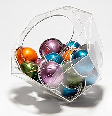 Verre Collection Hexagon Plexiglass Capsule Pod Holder, Compatible for Nespresso Vertuoline, K-Cups, Dolce Gusto, Clear Dispenser, Storage Solution