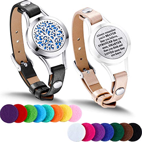 TOODOO 1 Pieces Essential Oil Diffuser Bracelet Aromatherapy Oil Bracelet Locket Bracelet with 2 Leather Bands and 15 Color Pads, Girls Women Jewelry Gift Set (Tree -