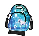 Neoprene Lunch Bag with Cutlery Kit Case For Knife,Fork- Removable Shoulder Strap - Extra Pocket-Insulated Reusable Thermal Lunch Tote/Lunch Box/Bag For Women,Men,Kids,Adults (Nice Unicorn)