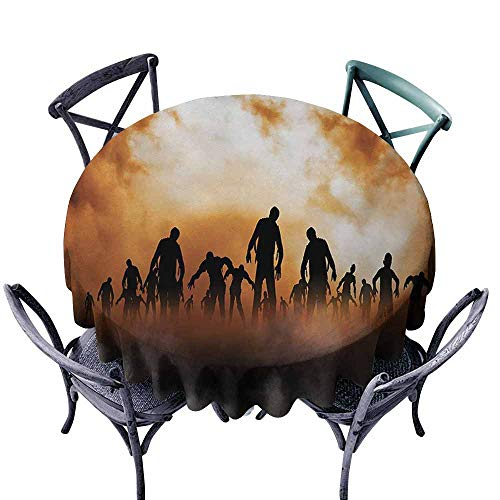 VIVIDX Spillproof Tablecloth,Halloween,Zombies Dead Men Walking Body in The Doom Mist at Night Sky Haunted Theme Print,High-end Durable Creative Home,35 INCH,Orange Black -