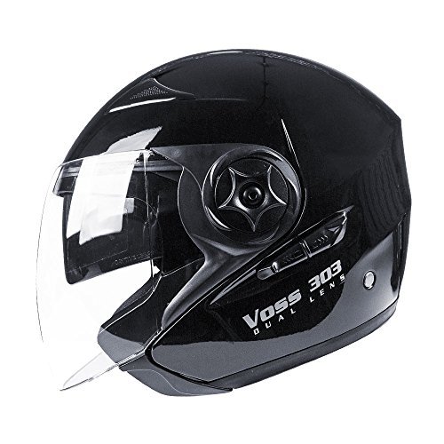 Motorcycle Dot Helmet Shorty - Voss 303 Dual Lens Cruiser DOT Three Quarter / Open Face Helmet with Integrated Sun Lens and Quick Release System - L - Gloss Black