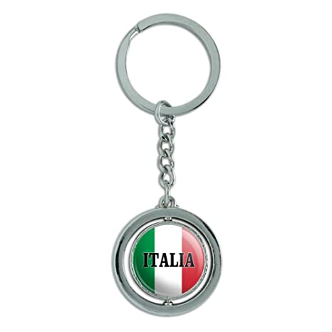 Italia Italia bandera italiana Spinning redondo cromado ...