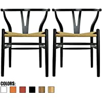 2xhome - Set of Two (2) - Black - Wishbone Wood Arm Chair Armchair Modern Black with Natural Woven Seat Dining Room Chair