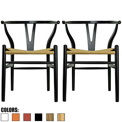 2xhome Set of 2 Black Wishbone Wood Armchair with Arms Open Y Back Open Mid Century Modern Contemporary Office Chair Dining Chairs Woven Seat Brown Living Desk ()