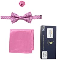 U.S. Polo Assn. Men's Neat Print Bow Tie, Pocket Square And Lapel Pin Set