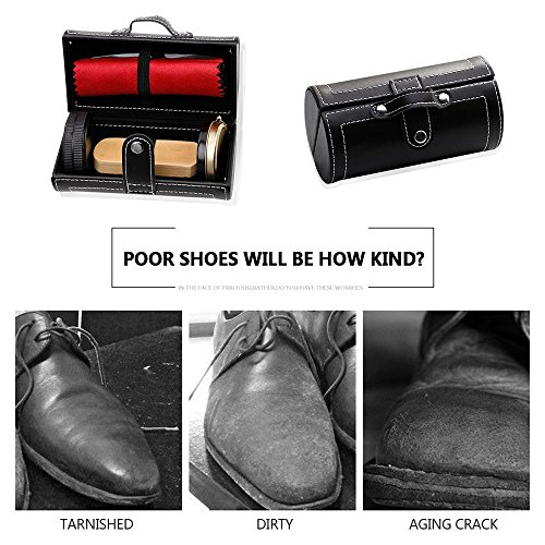 Shoe Shine Brush Set,AOLVO Leather Shoes Care Cleaning Polish Tools Set with Portable Black Leather Case, Travel Shoe Shine Care Kit 6 Piece by AOLVO (Image #3)