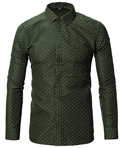FLY HAWK Mens Dress Uniform Button Down Shirt Slim Fit Tapered Long Sleeved Shirts Green US M ()