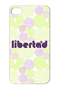 Latino Spanish Mexican Liberty Libertad Politics News Mexico Flowers Purple Libertad TPU Protective Case For Iphone 4s