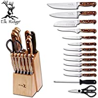 Elk Ridge ER928 Kitchen 15 Piece Knife Set w/Wood Block & Sharpening Rod