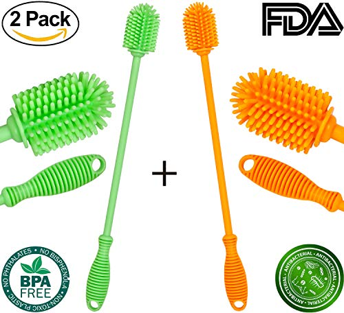 Handled Milk - Bottle Brush Cleaner - Antibacterial Silicone Bottle Cleaning Brush Set Long Handle for Washing Water Bottle (Orange, Green)