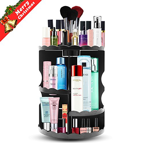 Makeup Organizer, Plusmart 360 Degree Rotation Cosmetic Organizer Cosmetic Storage Box Fits Different Sizes of Cosmetics Brushes Creams Lipsticks, Adjustable Makeup Organizer Set Large Capacity Black