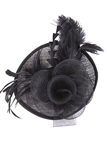 Vijiv Women Vintage Derby Fascinator Hat Pillbox Headband Feather Cocktail Tea Party,Black,One Size ()
