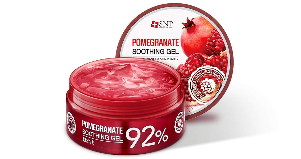 SNP - 92% Pomegranate Soothing Gel - Maximum Soothing & Moisturization for All Sensitve Skin Types - Excellent After Sun Care Relief - 300g