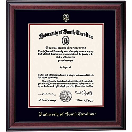 South Carolina Gamecocks Diploma Frame Ivory Maroon Matting Embossed Seal by Campus Linens