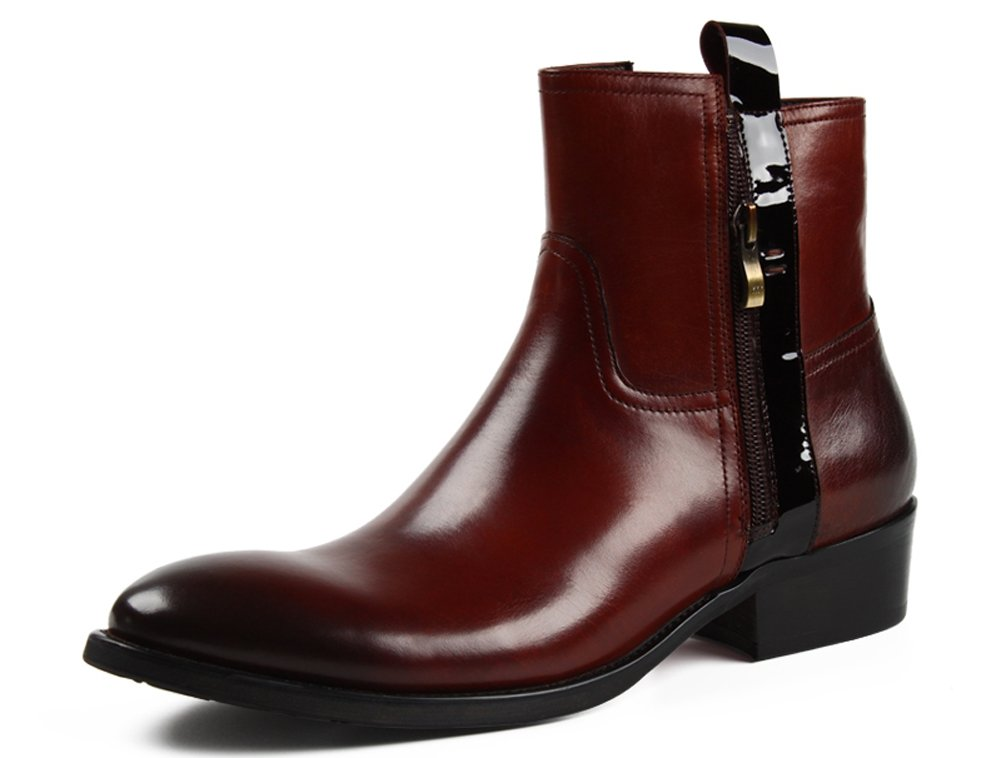 Santimon-Men's Gradients Genuine Leather Martin short Boots Zipper Handsewn Series Shoes-brown-44