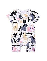 Kehen- Baby Summer Pajamas Cartoon Print Short Sleeve Jumpsuit Romper Boy Girl Cotton Bodysuit for Infant Newborn
