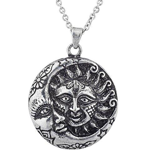 Lux Accessories burnished Silver Tone Boho Sun crescent Moon Pendant Necklace