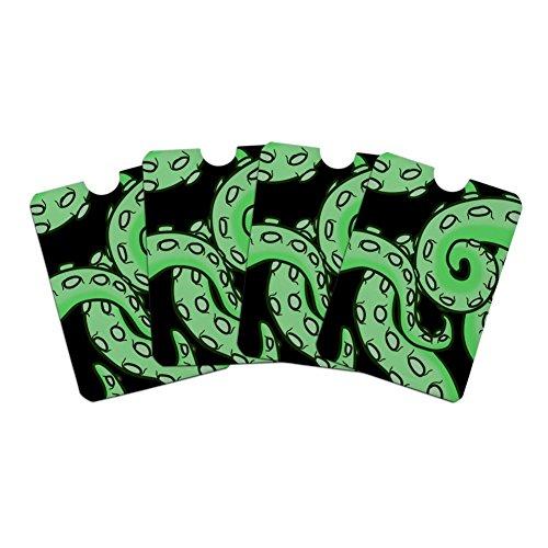 (Tentacles Squid Octopus Green Credit Card RFID Blocker Holder Protector Wallet Purse Sleeves Set of 4)