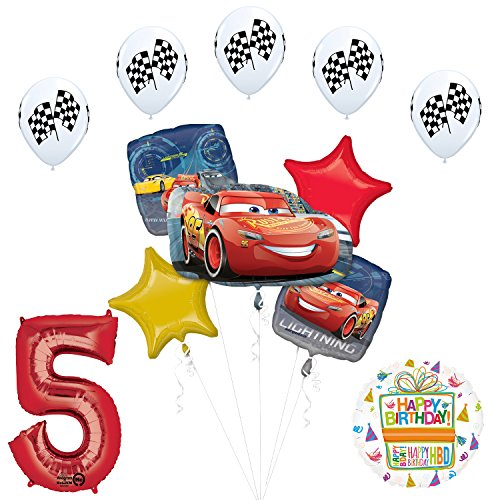 Mayflower Products Disney Cars 3 Lightning McQueen 5th Birthday Party Supplies and Balloon -