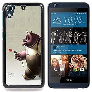 FOR HTC Desire 626 & 626s Queen Pattern - Rhino Rose 3D Cartoon Character Rose Love - Doble capa de armadura de la cubierta del caso del protector -