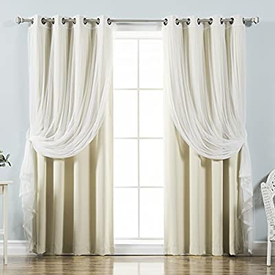 "Best Home Fashion uMIXm Tulle Sheer Lace and Blackout 4 Piece Curtain Set – Antique Bronze Grommet Top – Beige – 52"" W x 84"" L – (2 Curtains and 2 Sheer Curtains) - Features a dreamy and romantic look guaranteed to liven up any home décor Let in natural light with the Tulle sheer lace alone or layer it with the Blackout curtain to obstruct light while adding style and privacy Each panel has 8 antique bronze grommets. Grommet has 1.6-inch inner diameter, Included grommet rim is 2.7 inches - living-room-soft-furnishings, living-room, draperies-curtains-shades - 51vjRY2CatL. SS400  -"