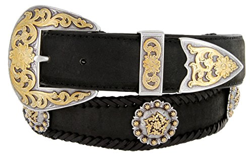 [Gold Coloma Concho Men's Western Leather Belt 1-1/2