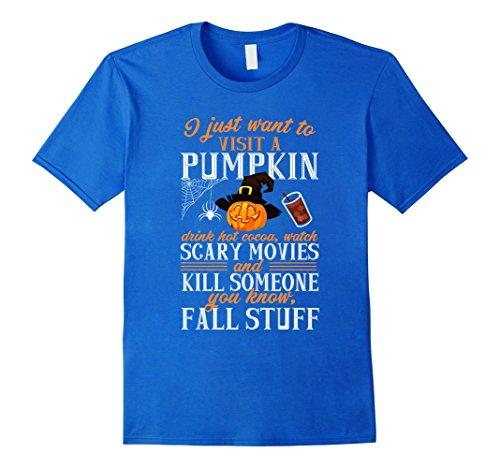 Halloween Funny Stuff (Mens Funny Pumpkin Movies Fall Stuff Halloween T shirt XL Royal Blue)