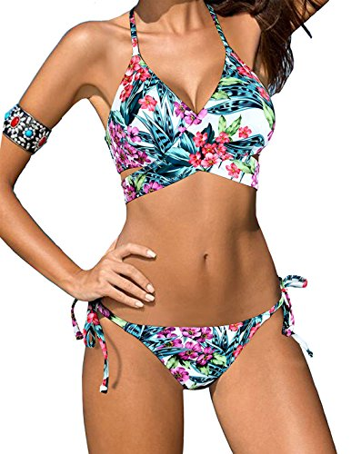 Triangle Bikini String Floral Print Swimsuit Push Up Top Halter Bathing Suit Swimwear Women