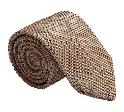 (Men Spring Dark Champagne Knitted Silk Ties Vintage Knit Skinny Designer Necktie)