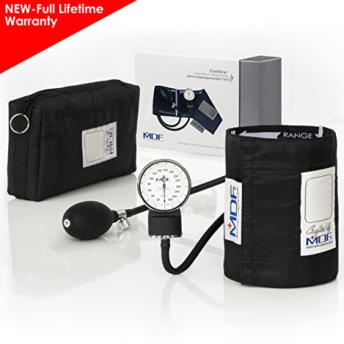 MDF® Calibra Aneroid Premium Professional Sphygmomanometer - Blood Pressure Monitor with Adult Cuff & Carrying Case - Black - Full Lifetime Warranty & Free-Parts-For-Life (MDF808M-11) Aneroid Sphygmomanometer Adult Latex