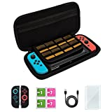 Nintendo Switch Starter Kit, Switch Accessories, Nintendo Switch Carrying Case + Glass Screen Protectors + Joy-Con Covers + Charge Cable + Cleaning Wipes, Hard Shell, 8 Game Holder, All in One, Black