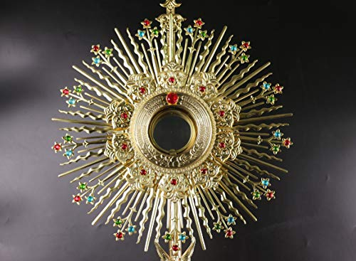 Rare Fine Large Monstrance with Lunette Beautiful and Affordable! 37'' High X67&B by Generic (Image #1)