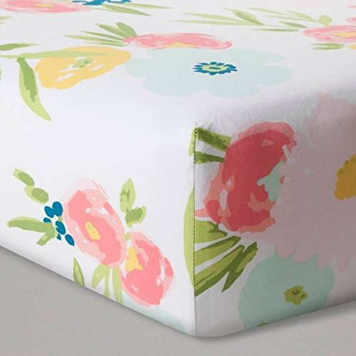 Cotton Fitted Baby Crib Sheet: Pink Flowers