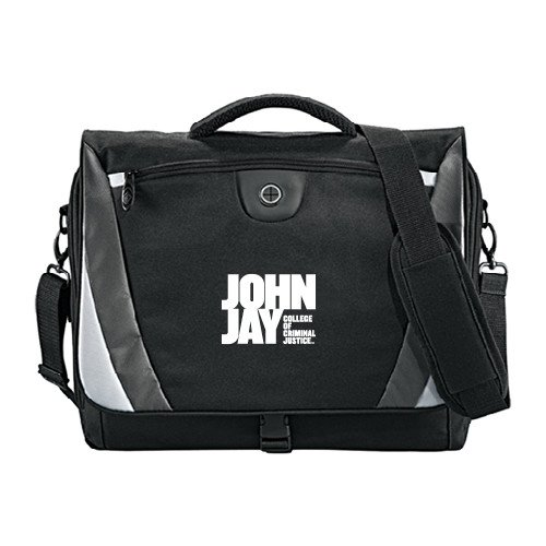 John Jay College Slope Black/Grey Compu Messenger Bag 'Official Logo' by CollegeFanGear