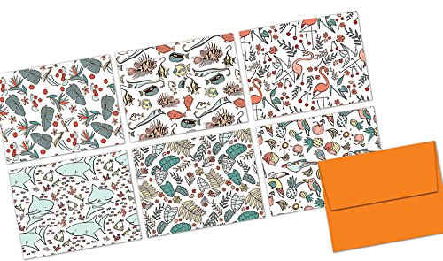 Vintage Aloha - 36 Note Cards - Blank Cards - Tangerine Zest Envelopes (Occassion Note Cards)
